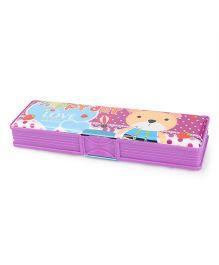 Magnetic Pencil Box Bear & Strawberry Print - Purple