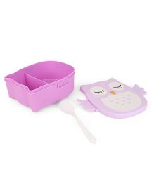 Lunch Box With Spoon Owl Print - Purple