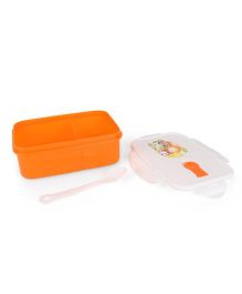 Lunch Box With Spoon Animal Print - Orange White