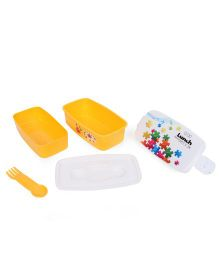 Square Lunch Box - White & Yellow