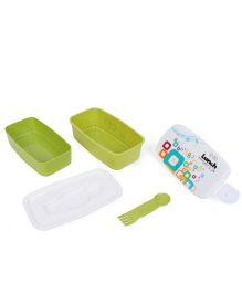 Square Lunch Box - White & Green