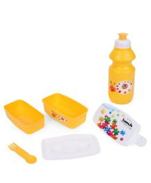 Square Lunch Box And Water Bottle - Yellow & White