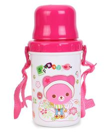 Water Bottle With Strap Pink & White - 500 ml