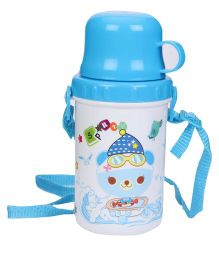 Water Bottle With Strap Blue & White - 500 ml
