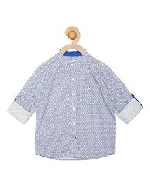 Campana Full Sleeves Chinese Collar Shirt  - White & Blue