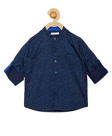 Campana Full Sleeves Printed Shirt - Navy Blue