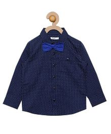 Campana Full Sleeves Shirt With Bowtie - Navy & Royal Blue