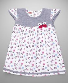 Babyhug Cap Sleeves Frock Butterfly Motif - White Grey