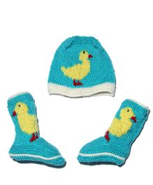 Soft Tots Cute Cap And Socks - Blue