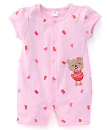 ToffyHouse Short Puffed Sleeves Romper With Ice Cream Print - Light Pink