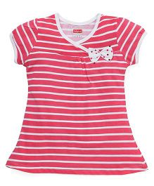 Babyhug Short Sleeves Striped Frock With Bow Applique - Pink