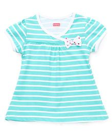 Babyhug Short Sleeves Striped Frock With Bow Applique - Sea Green
