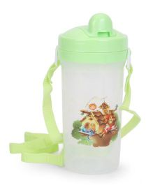 House And Baby Kids Push Button Water Bottle With Strap Green And White - 500 ml
