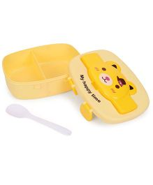 Animal Face Print Lunch Box With Spoon - Yellow