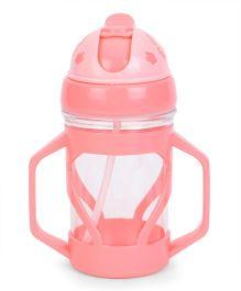 Pop Up Straw Water Bottle Flower Print Pink - 300 ml
