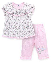 Teddy Short Sleeves Night Suit Printed - White Pink