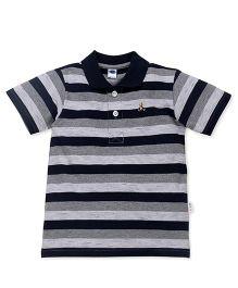 Teddy Half Sleeves Tee Stripes - Black Grey