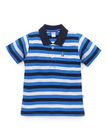 Teddy Half Sleeves Stripe T-Shirt - Blue White