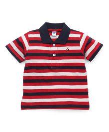 Teddy Half Sleeves Stripe T-Shirt - Red White