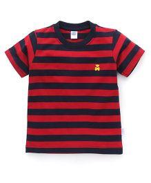 Teddy Half Sleeves Tee Stripes - Red