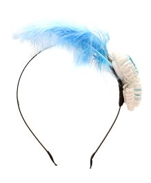 Yashasvi Hair Band Feather And Flower Applique - Blue
