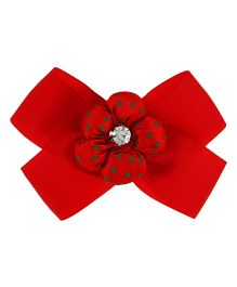 Yashasvi Hair Clip Bow Style With Flower - Red