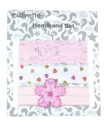 Playette Headband Set Pack of 3 - Pink White