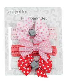 Playette Grosgrain Bow Headband Set Pack of 3 - Pink Peach White Red