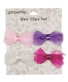 Playette Chiffon Bow Hair Clips Pack of 4 - Pink Purple Magenta White