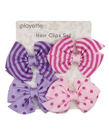 Playette Stripes N Dots Bow Hair Clips Pack of 4 - Purple Pink