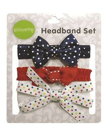 Playette Grosgrain Dotted Bow Headband Set Pack Of 3 - Navy Red White