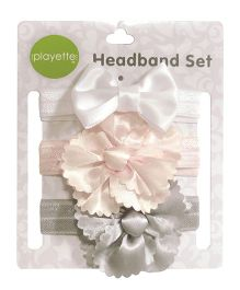 Playette Headband Satin Flowers and Bow Set Pack Of 3 - White Peach Grey