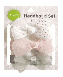 Playette Headband Chiffon Grosgrain Bow Set Pack Of 3 - White Peach Grey