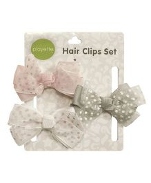 Playette Hair Clips Ribbon Bow Pack Of 3 - Peach Grey White