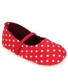 Nena Pretty Polka Dot Print Pair Of Bellies - Red & White