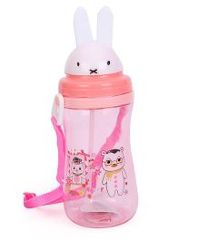 Flower And Happy Print Pop Up Sipper Water Bottle Peach And Pink - 500 ml