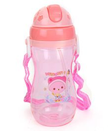 Pop Up Straw Water Bottle Teddy Print Pink - 500 ml