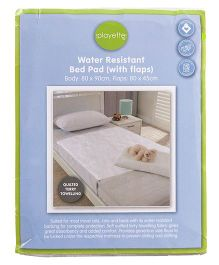 Playette Bed Pad Terry Towelling Water Resistant - White