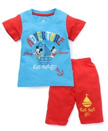 Bodycare Half Sleeves T-Shirt And Bottoms Mickey Print - Red Blue