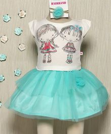 Rose Couture Cute Girl & Boy Printed Top & Skirt Set With Hairband - Sea Green