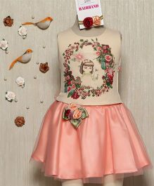 Rose Couture Flower Applique Skirt & Top Set With Hairband - Peach