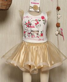 Rose Couture Floral Printed Top & Skirt Set With Hairband - Beige