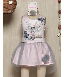 Rose Couture Flower Applique Skirt Top & Hairband Set - Pink