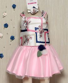 Rose Couture Elegant Floral Printed Top & Skirt Set With Hairband - Pink
