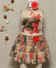 Rose Couture Top With Floral Printed Skirt & Hairband - Beige
