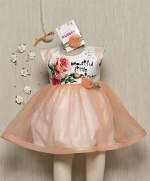 Rose Couture Floral Sleveeless Dress With Net Overlay - Peach