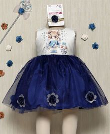 Rose Couture Cute Printed Dress With Hairband - Navy Blue
