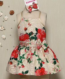 Rose Couture Rose Print Doll Dress With Hairband - Off White