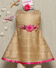 Rose Couture Fancy Net With Rose Broach Dress With Hairband - Beige