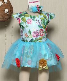 Rose Couture Floral Applique Baby Doll Dress With Hairband - Sea Green